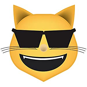 Cool Cat Emoji Vinyl Decal Wall, Car, Laptop - 36 inch
