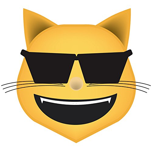 Cool Cat Emoji Vinyl Decal Wall, Car, Laptop - 36 - Emoticon Sunglass Facebook