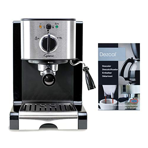 Capresso EC100 Pump Espresso and Cappuccino Machine (Black/Stainless) Includes Machine Descaling Powder Bundle (Renewed)