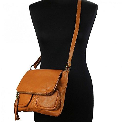 Olivia–Umhängetasche Damen unterzeichnet Olivia/Tasche aus Echtleder/weichem Leder, Schwarz - schwarz - Größe: Unique camel