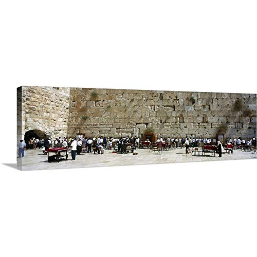 Solid-Faced Canvas Print Wall Art Print Entitled Crowd Praying in Front of a Stone Wall Wailing Wall Jerusalem Israel 60