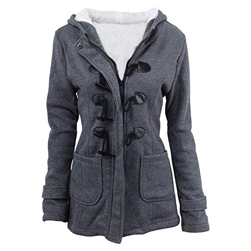 Womens Pea Coats Winter Outdoor Warm Wool Blended Classic Hoodies Jackets Casual Zip Up Button Long Outwears Darkgray