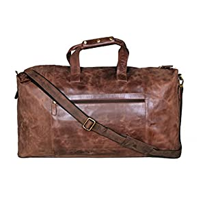 "Cuero 25"" Leather Duffel Weekender Travel Luggage Gym Yoga Bag"