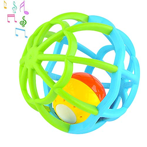 Newborn Baby Rattle Toy Bendy Ball Musical Toys Little Boys Girls Teether Ball Music and Flashing Lights Shake and Roll Ball Gym Balls for 3-18 Months Toddler, Infant, Children/Green