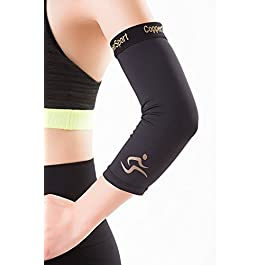 CopperSport Copper Compression Elbow Sleeve Support – Suitable for Athletics, Tennis, Golf, Basketball, Sports, Weightlifting, Joint Pain Relief, Injury Recovery (Single Sleeve)