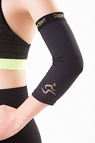 CopperSport Copper Compression Elbow Sleeve Support - Suitable for Athletics, Tennis, Golf, Basketball, Sports, Weightlifting, Joint Pain Relief, Injury Recovery (Single Sleeve), Black, Small