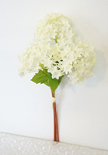 Sweet Home Deco 12'' Silk Snow Ball Geranium Artificial Flower Bunch (3 Stems w/ 3 Flower Heads) Craft Flowers for Arrangements Bouquets (White) (12' Silk Single)