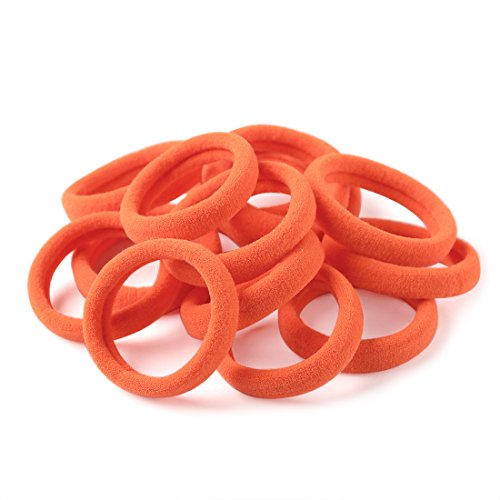- XIMA 60pcs Nylon Elastic Hair Ties Hair Ties Bands Rope No Crease Elastic Fabric Large Cotton Stretch Ouchless Ponytail Holders (60pcs-Neon Orange(HT007-7))