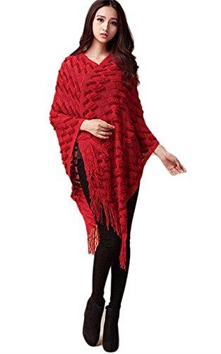 Asimmetrico Pullover Elegante Rot Tempo Tassels Hx Fashion Libero Capa Scialle Chic Camicetta Ragazza Comodo Baggy Autunno Poncho Donna SRfXfxw1q