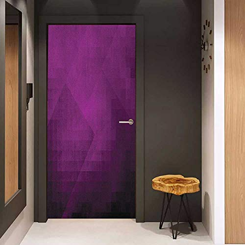Onefzc Door Sticker Mural Eggplant Abstract Purple Squares in Faded Color Scheme with Modern Art Inspired Style Pixelart WallStickers W23.6 x H78.7 Purple