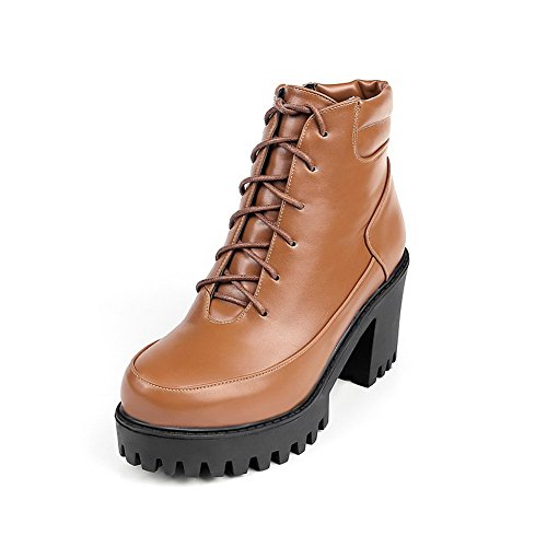 AgooLar Womens Low-Top Zipper Soft Material High-Heels Round Closed Toe Boots Brown 0mjK9LyOG