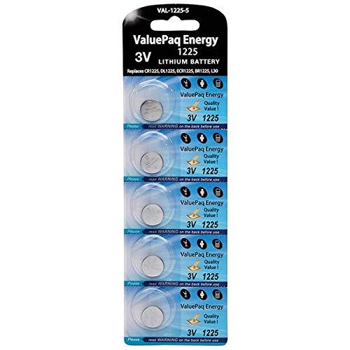 (Dantona VAL-1225-5 Valuepaq Energy 1225 Lithium Coin Cell Batteries, 5 Pk)