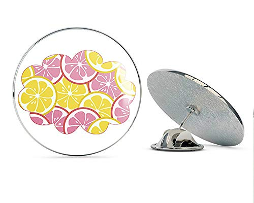 BRK Studio Cute Fun Bright Colorful Pink Yellow Lemon Citrus Summer Pattern Cartoon Icon, Cloud Round Metal 0.75