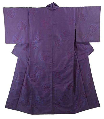 アンティーク 着物  花菱に花丸文様 正絹 袷 裄60.5cm 身丈144cm