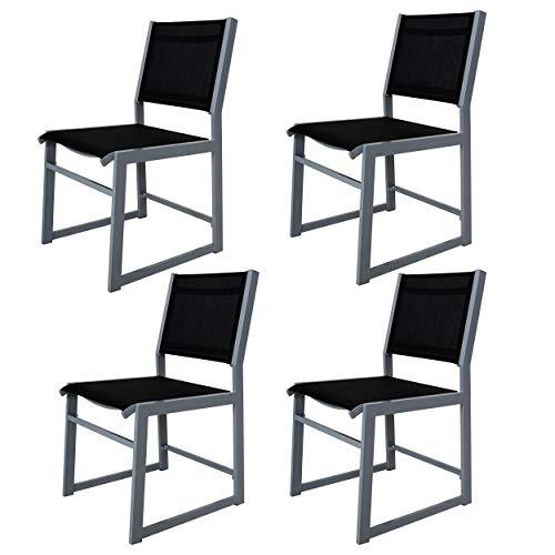 Chicreat - Juego de 4 sillones de aluminio tapizados para jardin (negro y plateado)