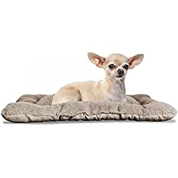 Furhaven Pet Kennel Pad   Reversible Terry and Suede Pet Tufted Pillow Dog Bed for Crates & Kennels, Clay, X-Small