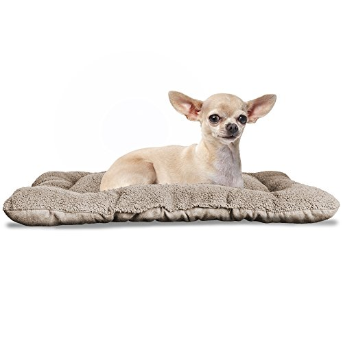 (FurHaven Pet Kennel Pad | Reversible Terry & Suede Pet Tufted Pillow Dog Bed for Crates & Kennels, Clay, X-Small)