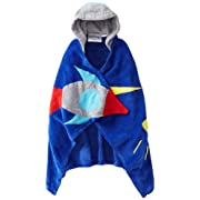 Kidorable Space Hero All-Cotton Hooded Blue Towel for Boys w/Fun Astronaut Helmet Rocket Ages 0-2