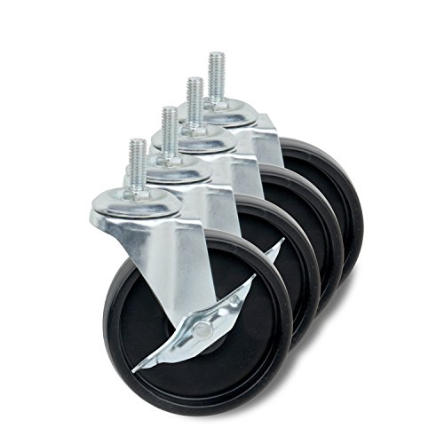 Honey-Can-Do 4-Inch Caster Roller Wheels for HCD Shelving Unit, Set of Four - Locking Unit
