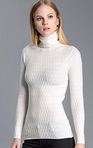 ZKOO Mujeres Blusa Camisas de Punto Top Blouses para Otoño Invierno Sueter Jerseys de Mangas Largas Blanco