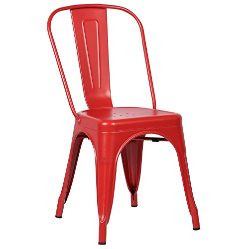 Poly and Bark Tolix Style Bistro A Dining Side Chair, Red