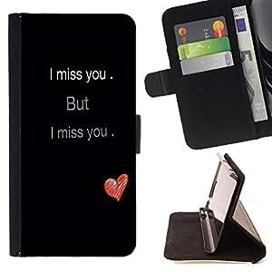 Jordan Colourful Shop - FOR Apple Iphone 6 - i miss you - Leather Case Absorci¨®n cubierta de la caja de alto impacto