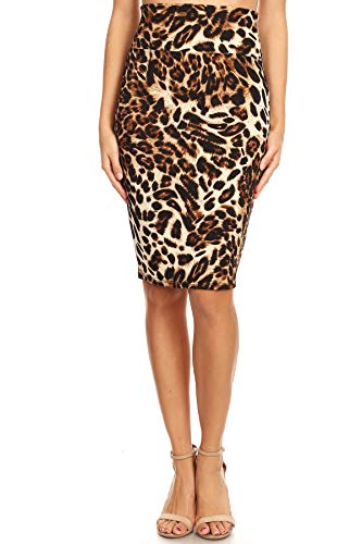 MissMissy Womens Casual Office Stretch Dot Floral Animal Stripe High Waist Pencil Skirts Q1021-2 (Small, Leopard) (Skirt Leopard Stretch)