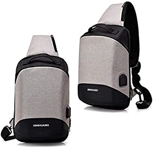 Shoulder bag for university students and schools with USB port to charge smart phones