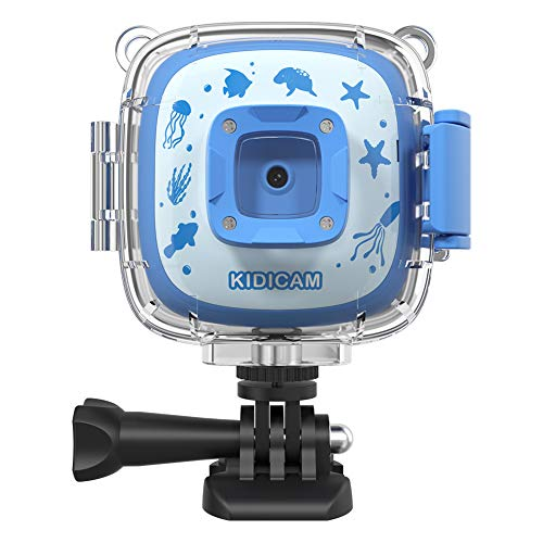 Dragon Touch Kids Camera Kidicam 1080P Action Camera 30m Waterproof Camera Blue