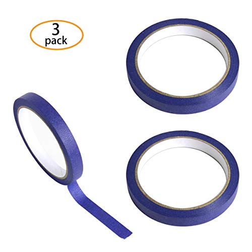 Hapy Shop 3 Pcs Blue Tape Removable Marking Masking Tape 1/2 Inch x 22 Yards,Painters Tape Trim Edge Finishing Decorative Total 66 Yards (Stencil Tape)