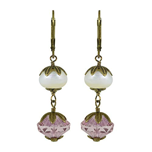 NoMonet Hand Painted Artisan Earrings - Dew Drops - Gold and Pink