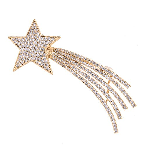 OBONNIE Clear Crystal Sparkling Shooting Star Rhinestone Brooch Pin for Women (Gold)