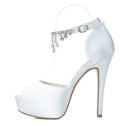 L@YC Zapatos De Boda De Las Mujeres PL-3128-21 Rhinestone Platform Pump Satin Zapatos De Novia Con Colgantes De Seda White