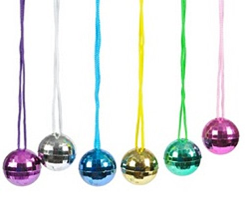 Fun Express Assorted Color Disco Ball Necklaces (1 Dozen)