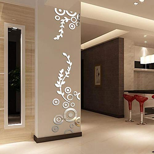 YINASI Creative Circle Ring Acrylic Mirror Wall Stickers, 3D Home Room Decor Decals for Bedroom Bathroom Living Room Nursery Room Silver