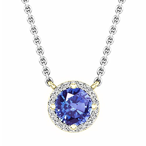 Dazzlingrock Collection 14K Round Tanzanite And White Diamond Ladies Halo Pendant (Silver Chain Included), Yellow Gold