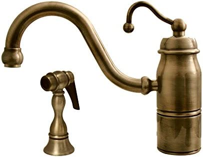 Whitehaus 3-3165-SPR-C-PNIC Beluga 9-Inch Single Handle Faucet with Traditional Curved Swivel Spout, Curved Handle and Solid Brass Side Spray, Polished Nickel