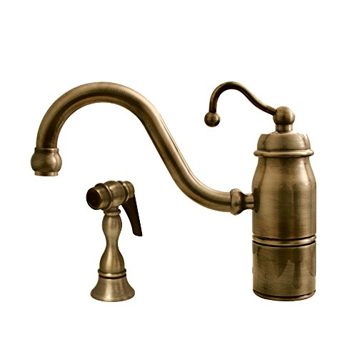 Whitehaus 3-3165-SPR-C-ABRAS Beluga 9-Inch Single Handle Faucet with Traditional Curved Swivel Spout, Curved Handle and Solid Brass Side Spray, Antique Brass