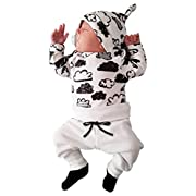 Raptop Newborn Infant Baby Girl Boy Cloud Print T Shirt Tops+Pants Outfits Clothes Set (3/6 Month, White)