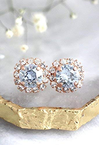(Bridal Gold Dusty Blue and White Halo Stud Earrings, Unique Swarovski Crystal Wedding and Party Jewelry, Handmade Bridesmaids Gifts)