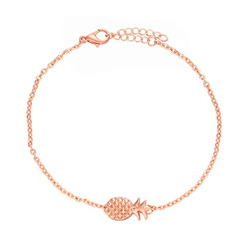NOUMANDA Lovely Fruit Chain Metal Pineapple Charm Bracelets Fashion Jewelry (rose - Metal Store Femme