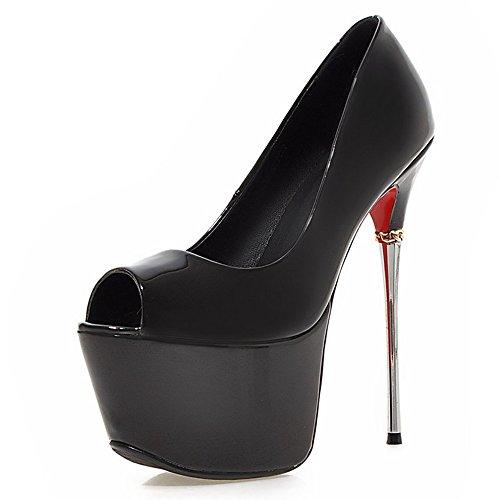 negro Peep noche zapatos Toe bomba de talón mujeres de corte plataforma stiletto moda Metal las la talón fZaTxq8w