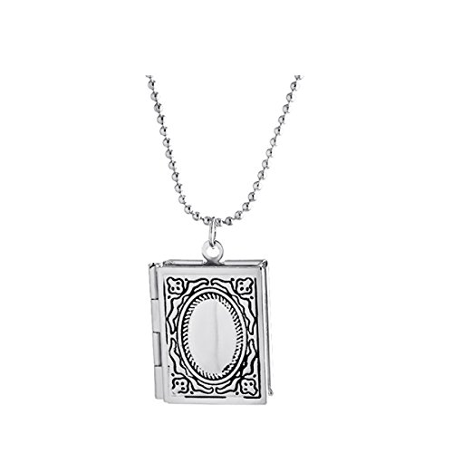 Ztuo Silver Engraved Friend Photo Frame Memory Pocket Christian Locket Bible Story Book Shape Necklace
