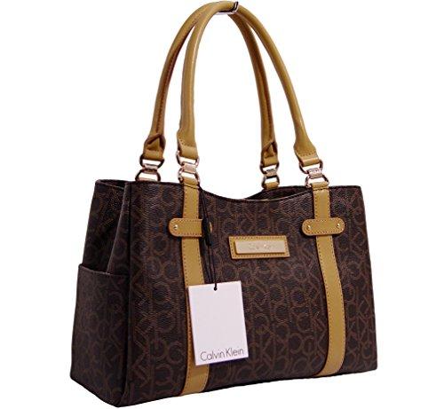 Calvin Klein Logo E/W Satchel Bag, Brown/Khaki/Camel, One Size