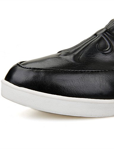 us8 Zapatos Punta Uk6 Black De Zq Mujer Cn39 Redonda tacón White casual Gyht Plano Blanco comfort Eu39 us8 mocasines semicuero negro RTCC5Hxqw0