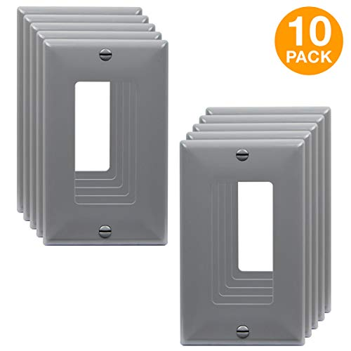 "ENERLITES Decorator Light Switch or Receptacle Outlet Wall Plate, Size 1-Gang 4.50"" x 2.76"", Unbreakable Polycarbonate Thermoplastic, UL Listed, 8831-GY-10PCS, Gray (10 Pack)"