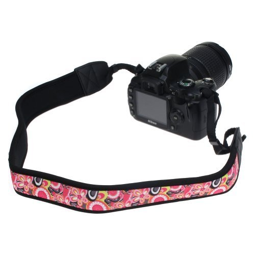 BIRUGEAR Pink Flower Soft Anti-Slip Neoprene Camera Shoulder