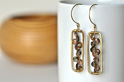 Andalusite Teardrops and 14k Gold Filled Earrings