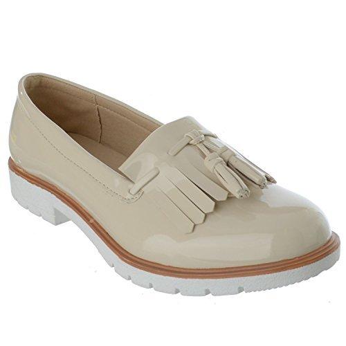 Señoras Mujeres Nuevas Clásico Flequillos Mocasines Planos Estilo Informal Zapatos Número - Charol Nude, 40: Amazon.es: Zapatos y complementos