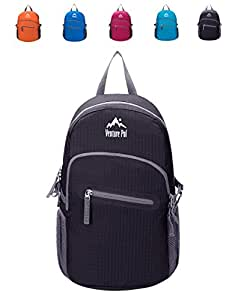 Venture Pal 20L Ultralight Lightweight Packable Foldable Waterproof Travel Camping Hiking Outdoor Sports Backpack Daypack(Black)